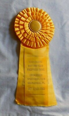 AMERICAN KENNEL CLUB Orangeville Pa 1960 Yellow Dog Puppy Ribbon 3rd place