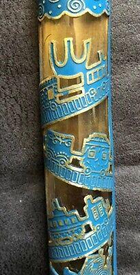 Hand Decorated Glass Mezuzzah Blue Elegant & Classy at the Best Price