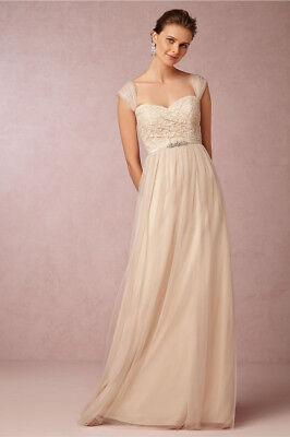NEW Jenny Yoo Juliette Bridesmaid Dress Convertible Tulle Light Beige Sz 0 Xs