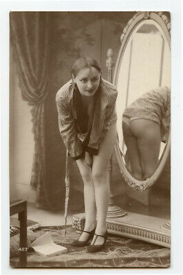 1920s Risque Nude French Deco RPPC Real Photo Postcard BARE BACKSIDE BABE