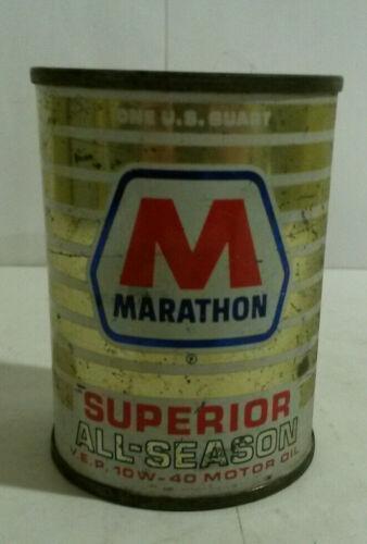 Marathon gas oil tin can bank vintage Superior All Season mini 10W-40