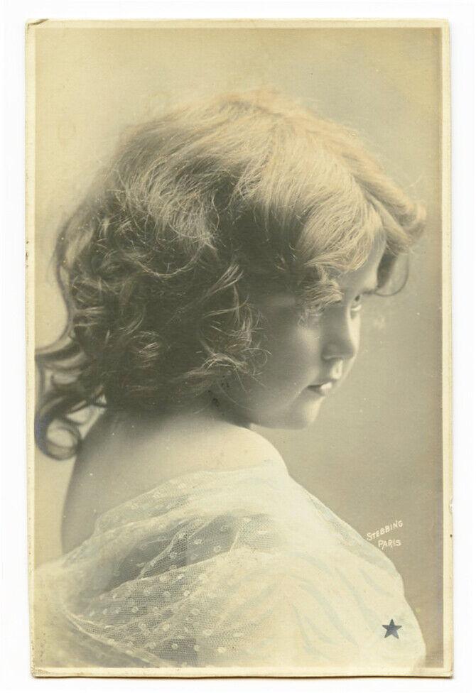 C 1905 Child Children CUTE LITTLE GIRL Pensive Kid Photo Postcard - $9.99