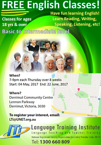 Free English Classes for Adults Derrimut Brimbank Area Preview