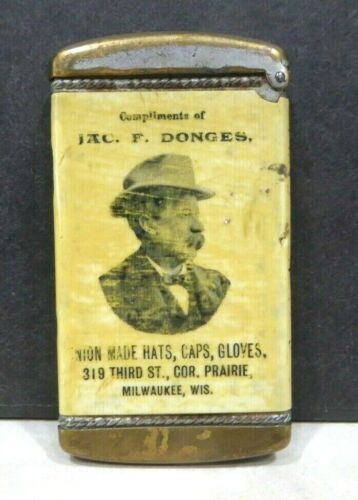 1900 Jac. F. Donges Union Hats Caps Gloves Milwaukee WI  Celluloid Match Safe