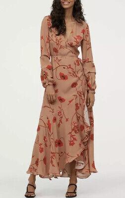 BNWT H&M / Johanna Ortiz Crepe Wrap Dress, Size Medium - Poppy / Floral Pattern
