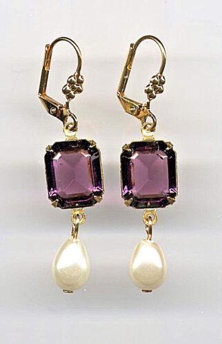 AMETHYST emerald-cut crystal PEARL TEARDROP Earrings 14K Gold gp *Vtg Czech
