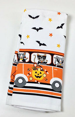 Cats in Halloween Costumes in RV Van Cotton Kitchen Dishtowels Set of 2](Cats In Costumes Halloween)