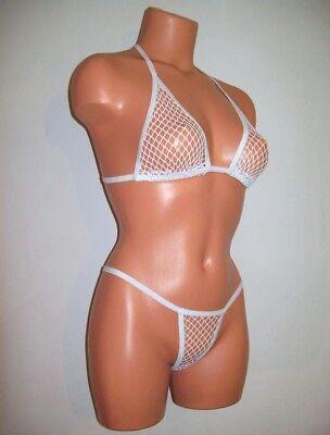 white spandex classic sheer diamond fishnet banded thong bikini lingerie set  - White Classic Thong