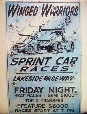 """Winged Warriors Sprint Car Races"" New METAL ""Garage Decor"" Sign"
