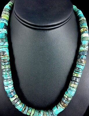 Native American Turquoise 8 mm Heishi Sterling Silver Bead  Necklace Rare