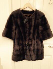 Luxury Russian 100% real Mink fur dark brown M 8-12 Saga LV CL YSL Dior