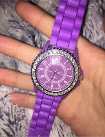 Purple quartz watch