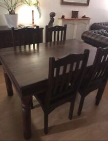 Solid dark wood table & chairs