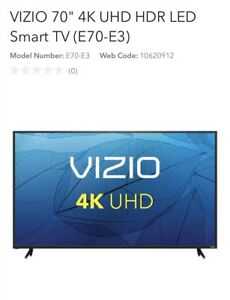 "70"" 4K led Visio tv, firm"
