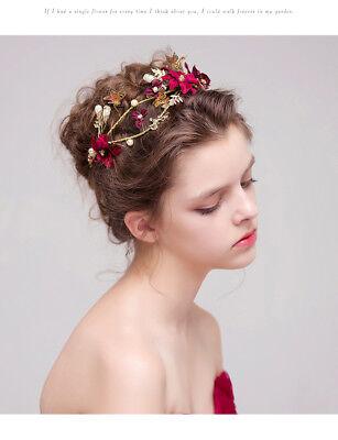 US NEW Baroque Gold&Red Crystals Wedding Bridal Crown Tiara Bride Hair Headpiece