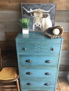 Vintage solid wood waterfall dresser chest of drawers
