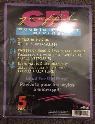 Cardinal Gel Graffiti Double Pocket Binder Dividers. 3 Packs Of 5 Dividers