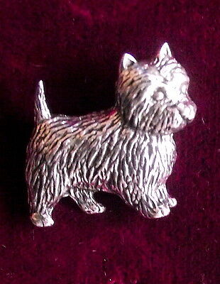 Pewter Westie West Highland Terrier Dog Brooch Pin Cute