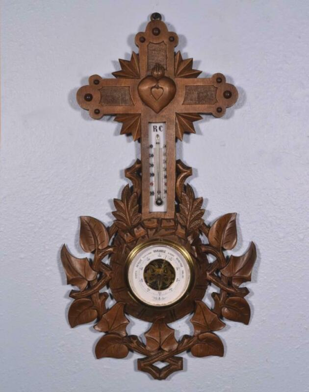 """*20"""" Tall Antique Black Forest Barometer Weather Station in Solid Walnut w/Cross"""