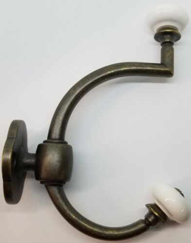 Antique Brass Double Front Mount Coat Hook Porcelain Knobs old classic vintage