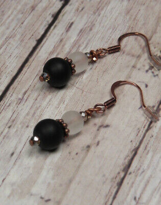 Frosted Round Glass Crystal Drop Pierced Earrings Handmade Copper Black White