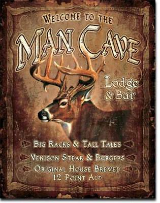 Man Cave Lodge Bar Buck Big Racks Deer Hunting Rustic Cabin Picture Metal Sign