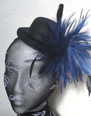 navy blue feather black mini top hat fascinator millinery burlesque wedding race](Navy Blue Top Hat)