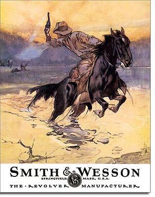 Smith & Wesson Revolver Manufacturer Hostiles Cowboy Horse Tin Metal Sign