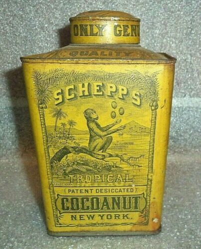 scarce early Schepps  coconut tin with monkey graphic