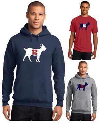 New England Patriots Tom Brady 12 Goat Mens T Shirt Or Hoodie Sz S   5Xl Nfl