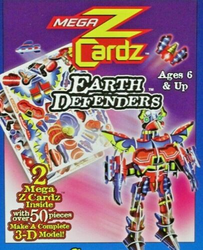 "Scowl Mega Z Cardz 3-D Model Kit Earth Defenders 50 pieces 6"" x 4"" NEW"