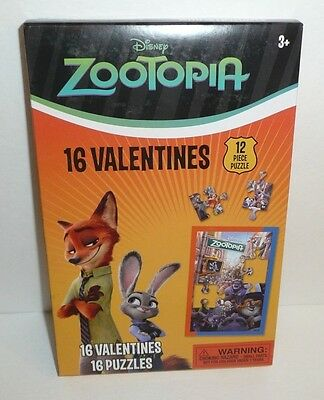 Zootopia Children's 16 Valentines Puzzles w/ Envelopes - Disney Valentine's Day