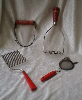 Vintage Red Wood Handled Kitchen Tools-Set of Four-1940's