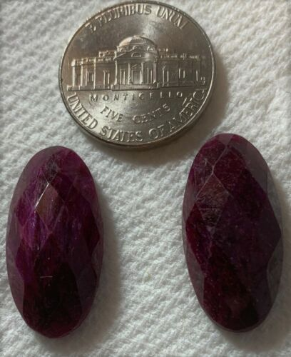 2 Red Aventurine, looks like Ruby, These are stunning Faceted 13x25 oval 33cts