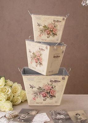 Blumentöpfe Pflanzkästen Blumenbehälter nostalgie Rosen im Retro Look
