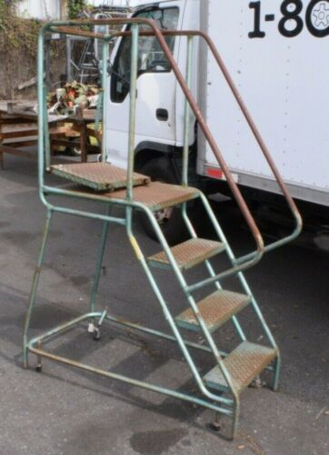 """Rolling Step Ladder ~ 4 Step ~ Steel ~ 38"""" tall at highest step ~ 20"""" width"""