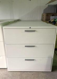 Teknion 3 Drawer Lateral Filing Cabinet with Handles - $250