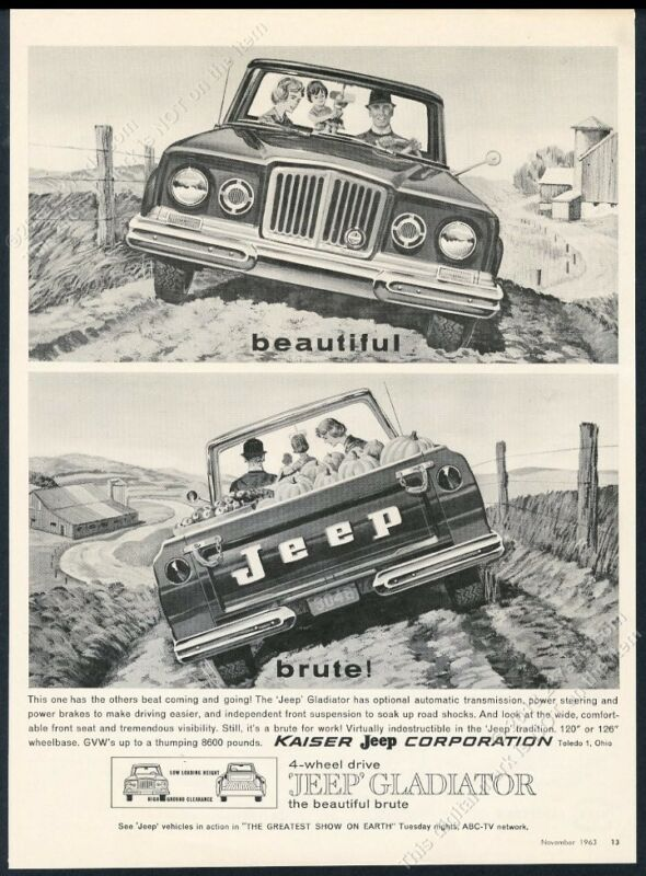 1964 Jeep Gladiator pickup truck muddy farm road art vintage print ad