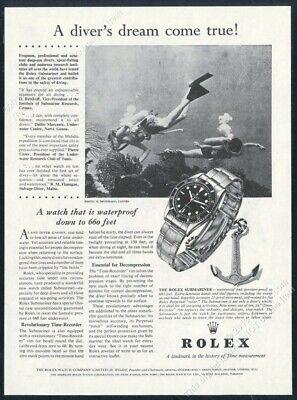 1957 Rolex Submariner watch art scuba diver diving photo vintage print ad