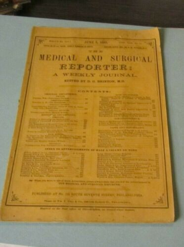 June 5 1880 Medical and Surgical Reporter Antique Journal Louisville Hospital