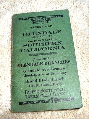 Rare Relief Midget Map Glendale Southern California Pacific Southwest Bank 1922