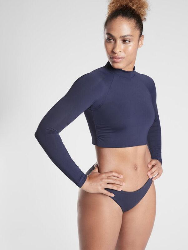 Athleta North point crop rash guard- small- dress blue- nwt