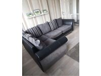 Ex Display Grey & Black Fabric Corner Sofas & Cuddle Chair Can Deliver Anywhere Same Day