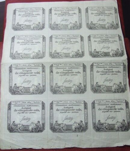 FRANCE 50 sols Rare 12 Assignat loi 1793 serie 2664