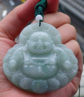 Certified Green 100% Natural A Jade jadeite pendant Happy Buddha God 开心佛 520943 for sale  Shipping to Canada