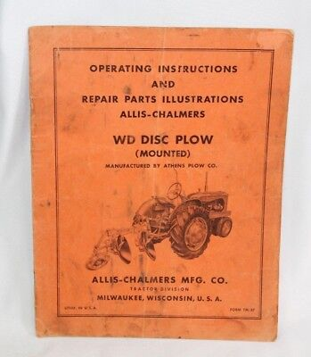Vintage Allis-chalmers Operating Parts Manual For Wd Disc Plow Mounted Tm-37
