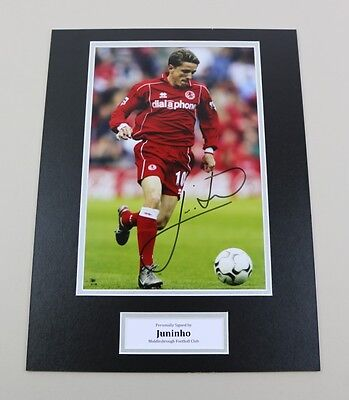 Juninho Signed 16x12 Photo Autograph Display Middlesbrough Memorabilia + COA