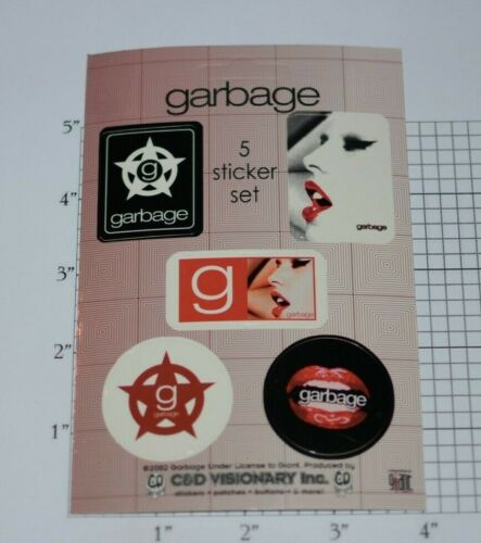 Garbage Rock Band Music Group 2002 Licensed 5-Piece Collectible Sticker Set