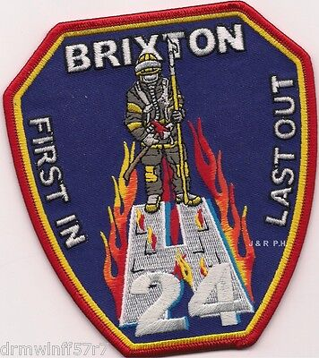 "Brixton H-24, London, England  ""First In - Last Out""  (4.5"" x 5"")    fire patch"