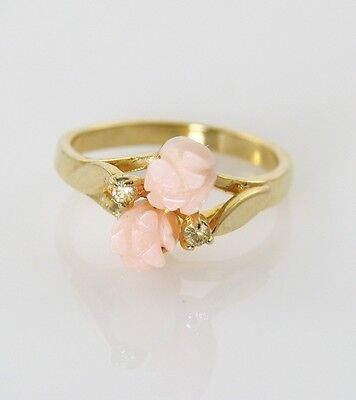 Lovely Vintage Carved Faux Angel Skin Coral DOUBLE Flower Crystals Ring Sz 6 1/4